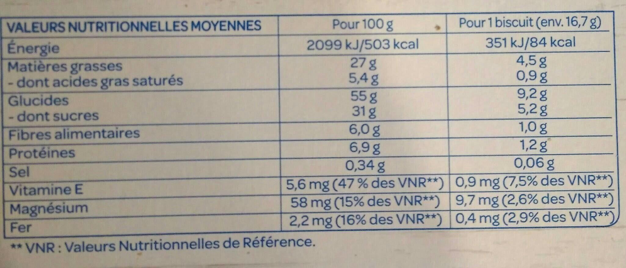 le cookie Chocolat noisettes - Informations nutritionnelles - fr