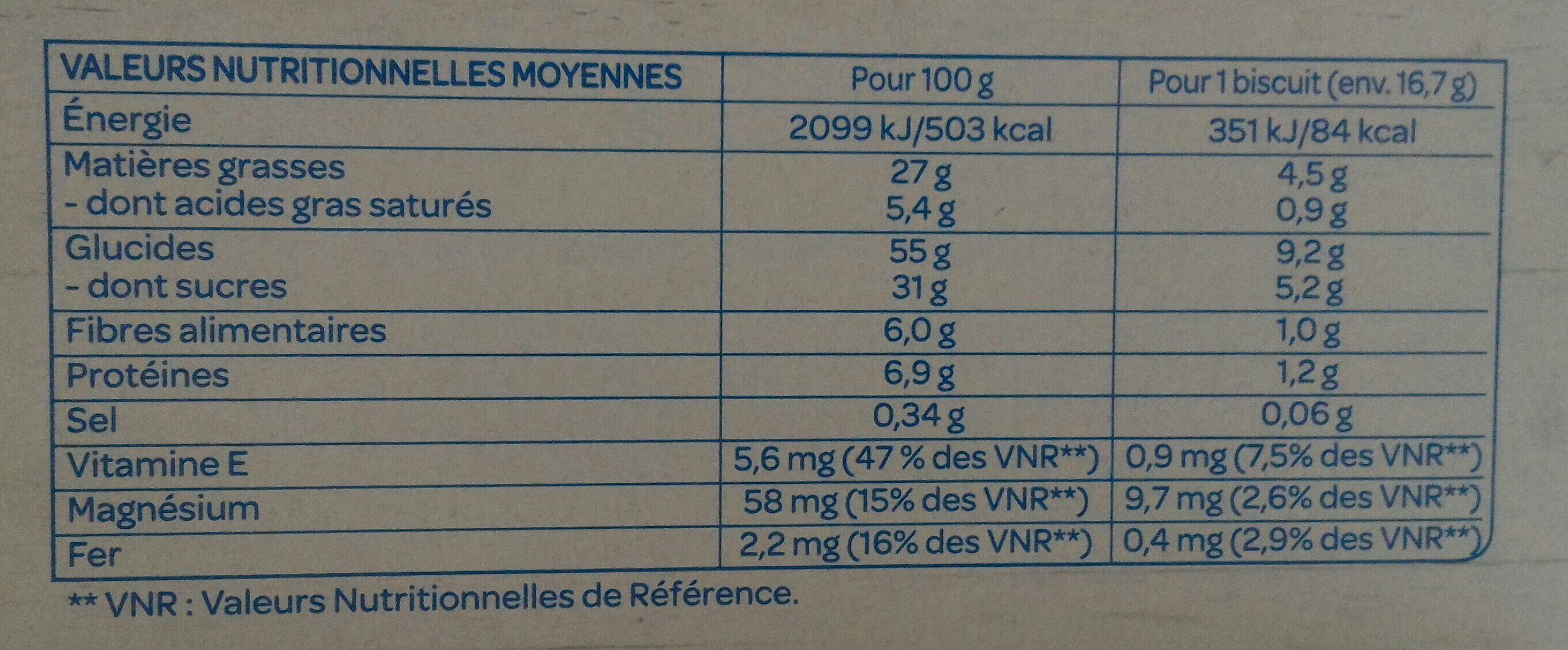 Le cookie chocolat noisettes - Nutrition facts