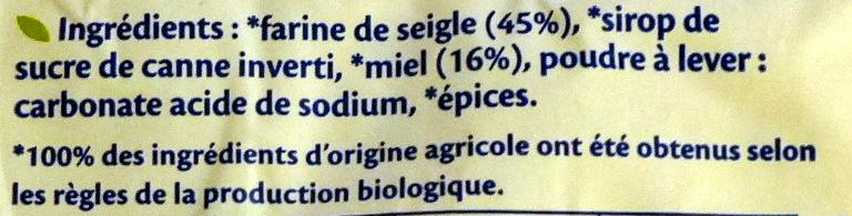 Pain d'épices miel BIO - Ingredients