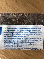 Pain complet 3 céréales - Ingrédients - fr
