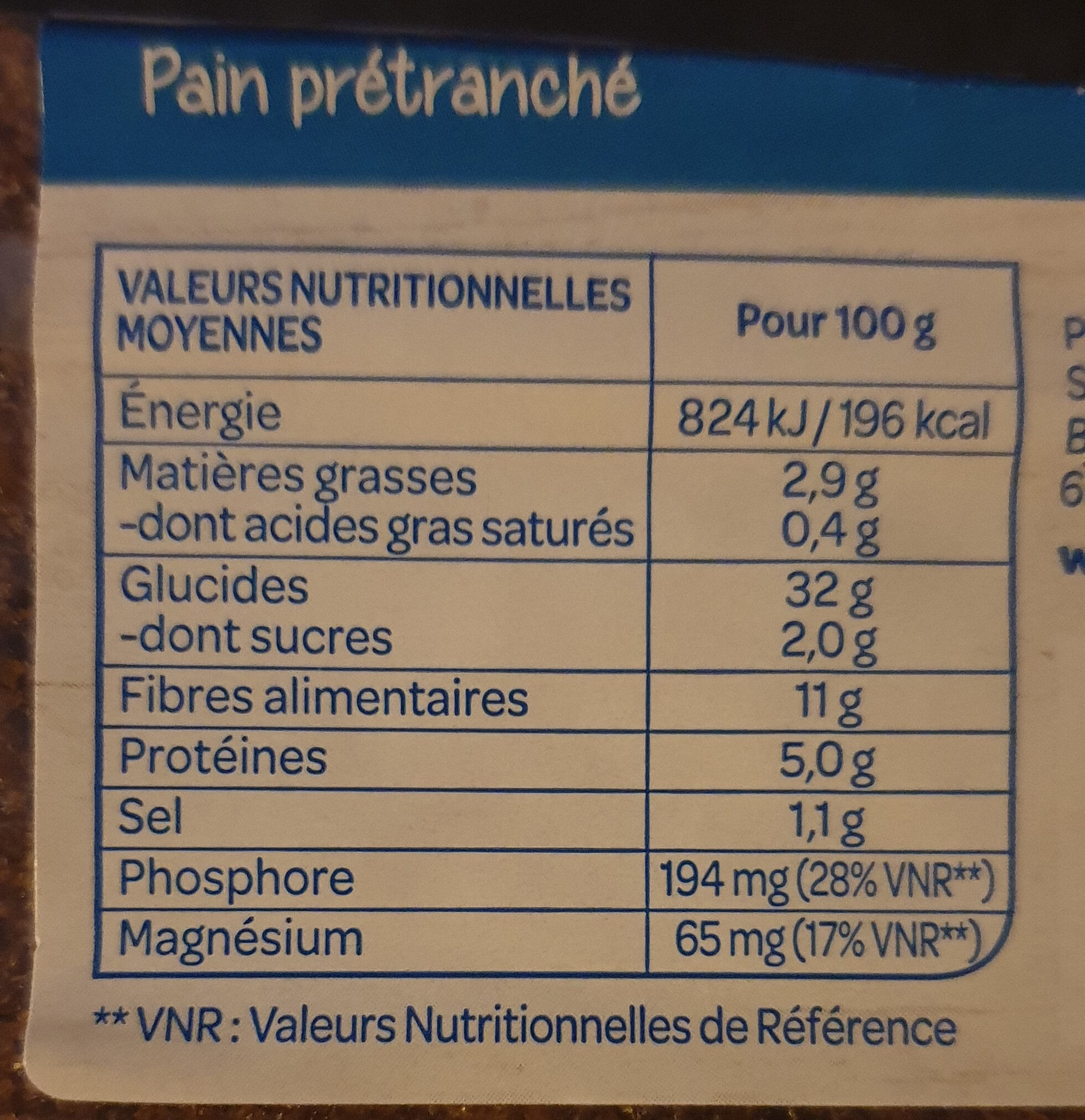 Pain complet 3 céréales - Informations nutritionnelles - fr