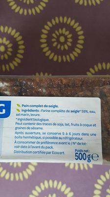 Pain seigle cplet bjorg - Ingrediënten
