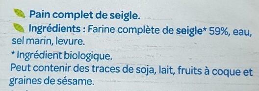 Pain complet seigle - Ingrediënten - fr