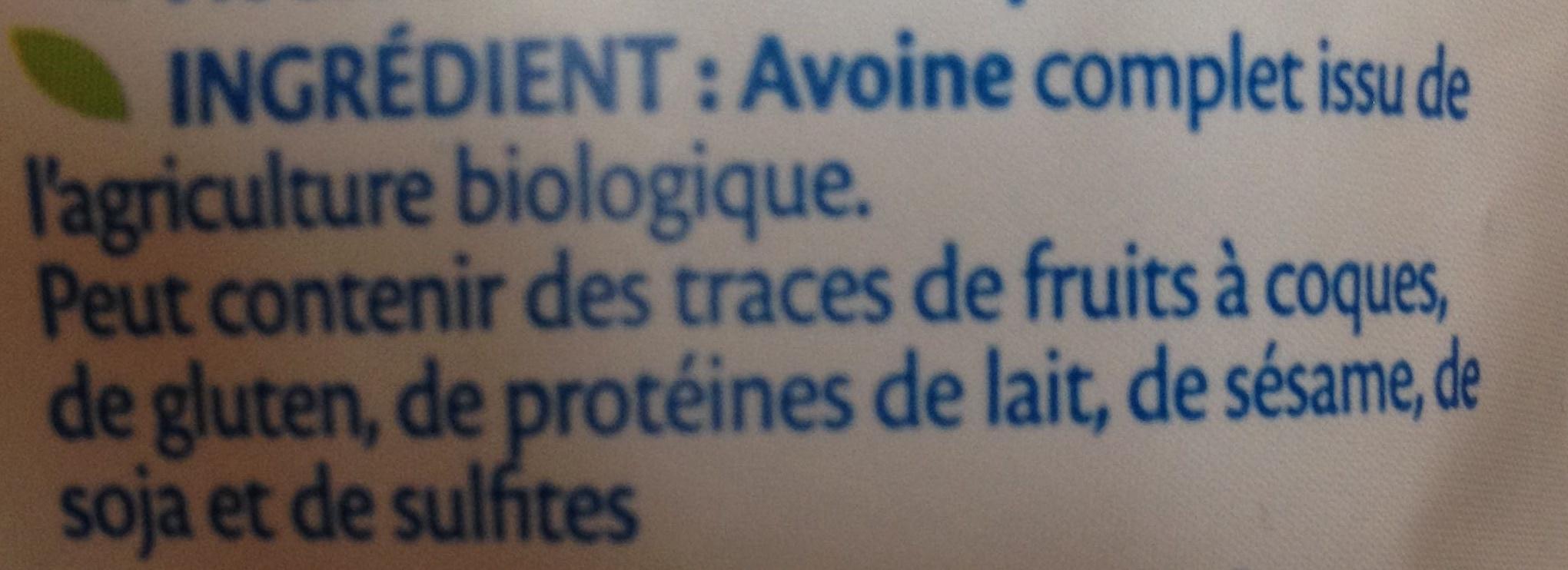 Flocons d'avoine complète bio - Ingrediënten