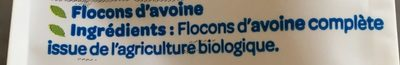 Flocons d'Avoine Complète BIO - Ingrédients