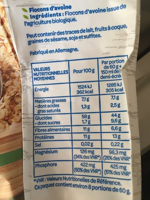 Flocons d'Avoine Complète BIO - Informations nutritionnelles