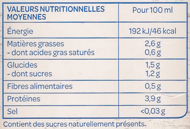 Soja Nature sans sucres ajoutés Bio - Nutrition facts