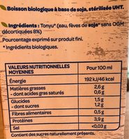 Soja nature - Nutrition facts