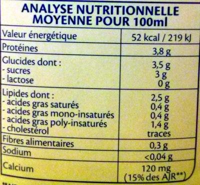 Soja Douceur Et Calcium Bio - Nutrition facts