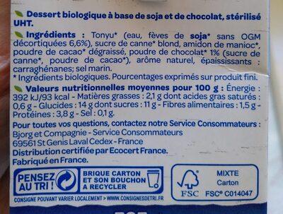 Dessert Soja Chocolat Bio - Informations nutritionnelles - fr