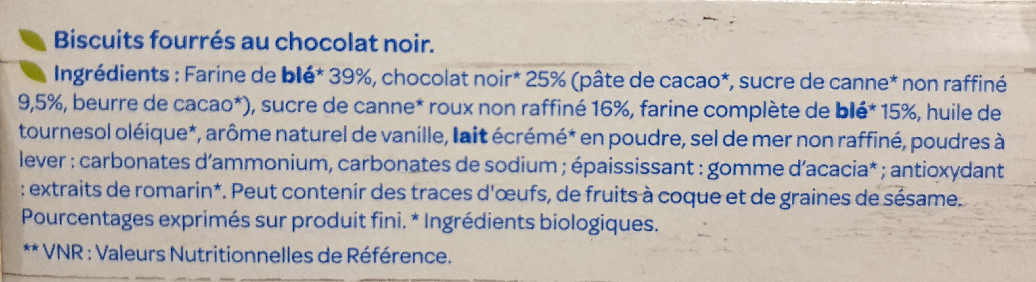 Fourrés Chocolat noir - Ingredients - fr