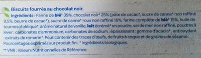 Fourrés Chocolat noir BIO - Ingrediënten - fr