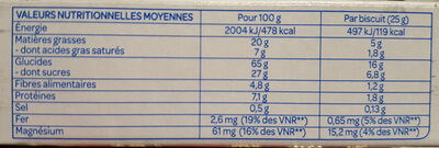 Fourrés Chocolat noir - Nutrition facts - fr