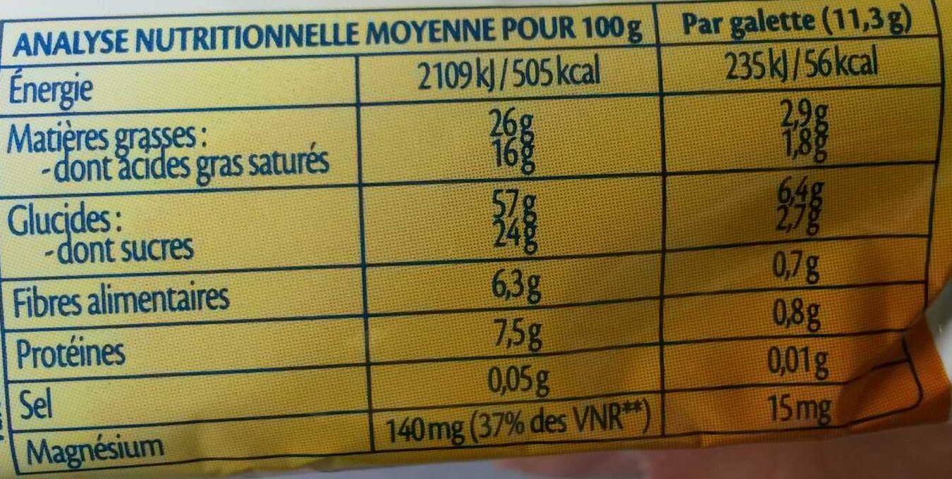 Galettes de riz chocolat noir coco bio - Informazioni nutrizionali - fr