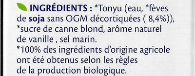 Soja Vanille Bio - Ingredients