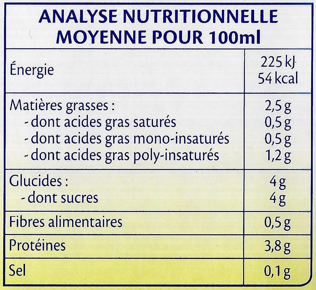 Soja Vanille Bio - Informations nutritionnelles