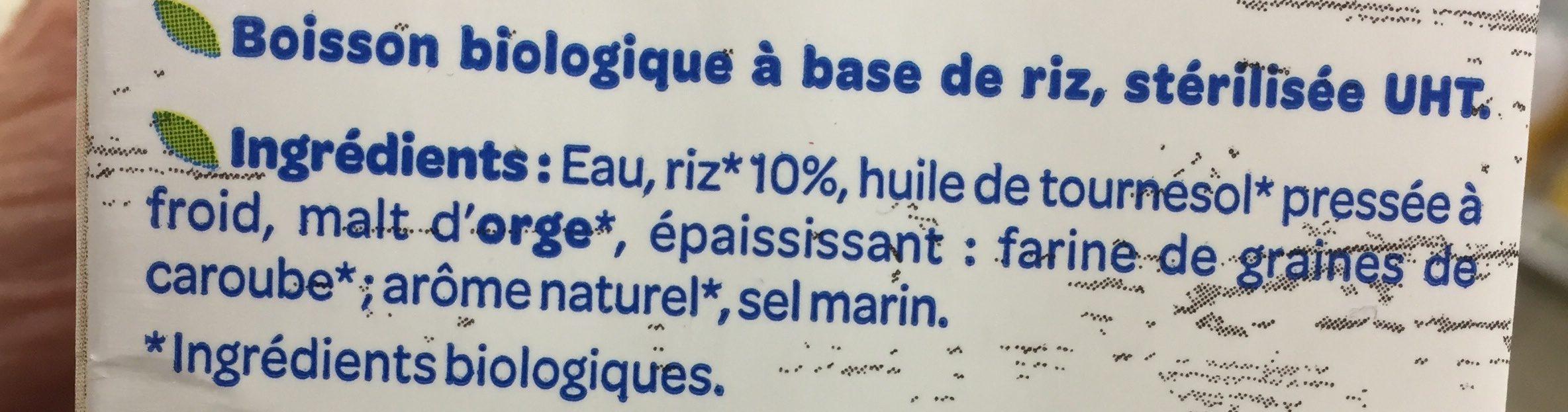 Boisson Riz Nature Bio - Ingrédients - fr
