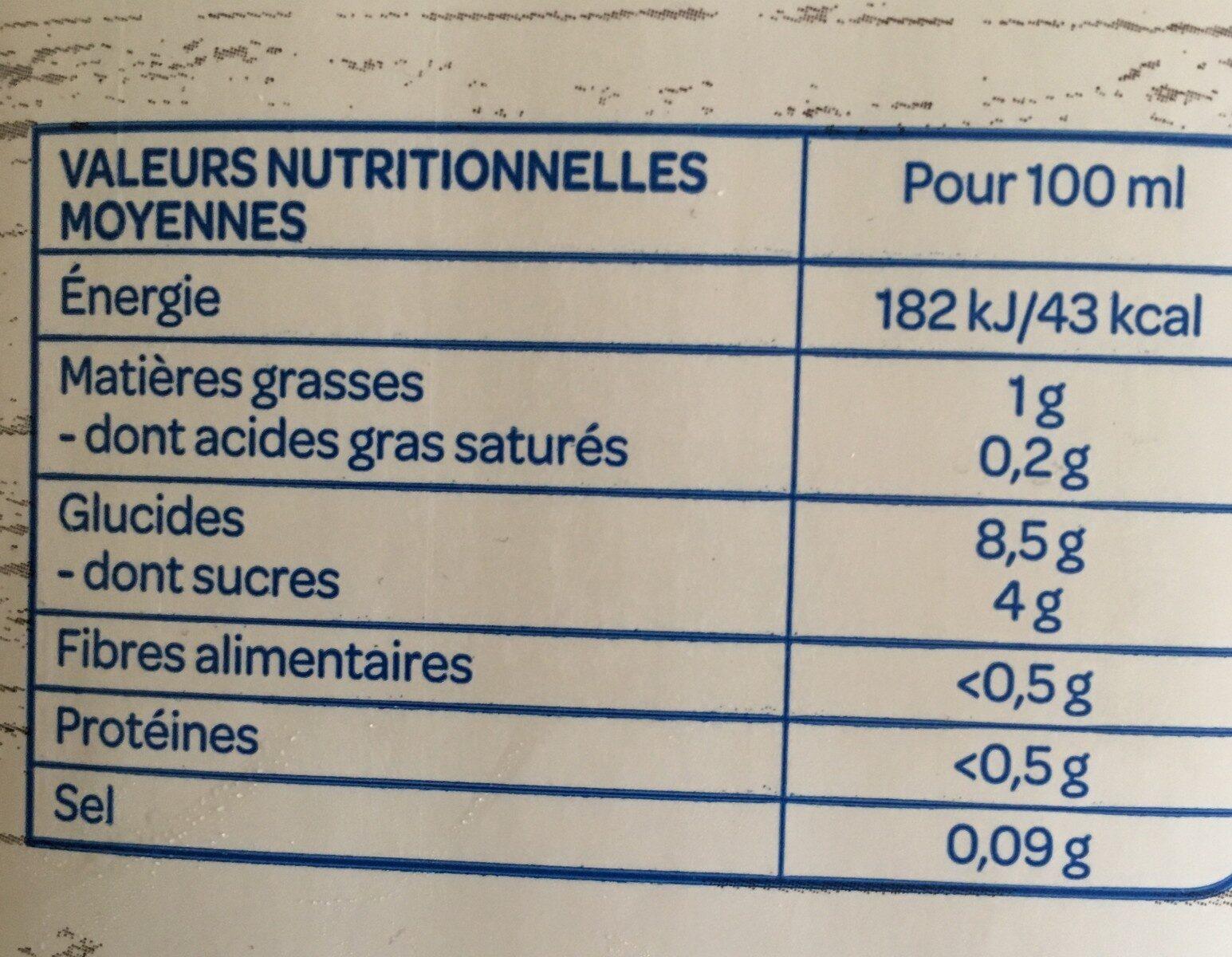 Boisson Riz Nature Bio - Informations nutritionnelles - fr