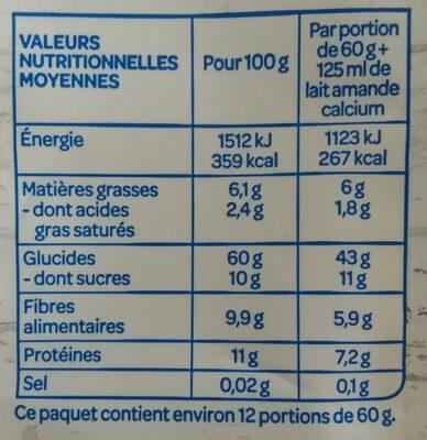 Muesli aux fruits - Informació nutricional - fr