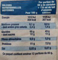 Museli aux fruits - raisin, pomme, banane, coco - Informations nutritionnelles - fr