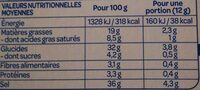 Bouillon cube légumes - Voedingswaarden