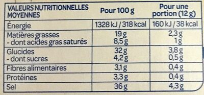 Bouillon cube légumes - Información nutricional - fr
