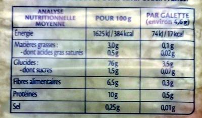 Galette extra fine 4 cereales - Voedigswaarden