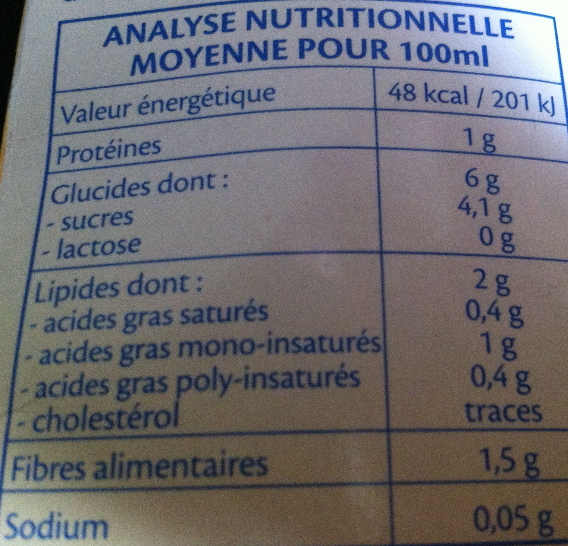 Lait d'amande Intense - Valori nutrizionali
