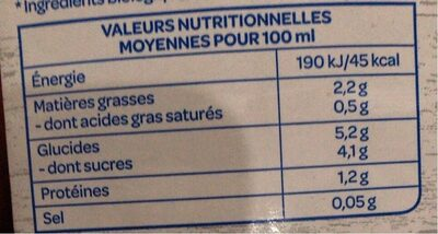 Amande Intense - Informations nutritionnelles - fr