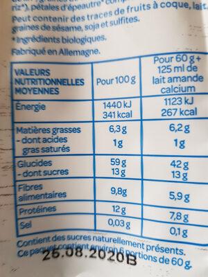 Muesli sans sucre ajouté* Bio - Ingrédients