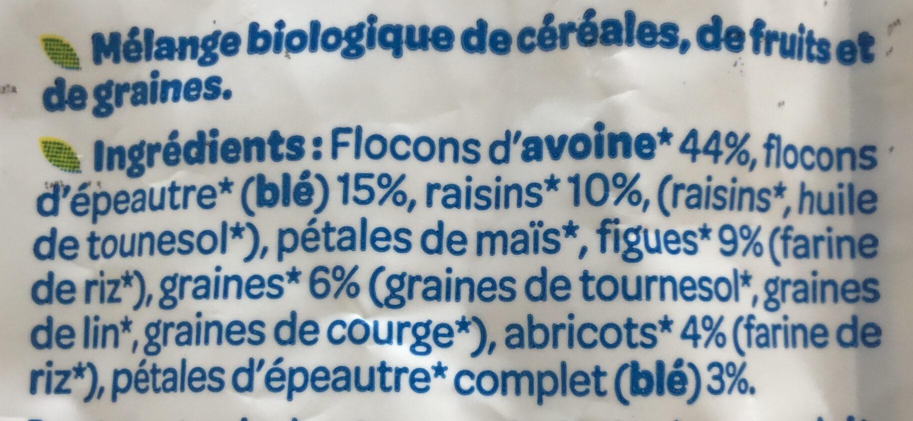 Muesli sans sucre ajouté* Bio - Ingredientes