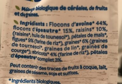 Muesli sans sucre ajouté* Bio - Ingrediënten