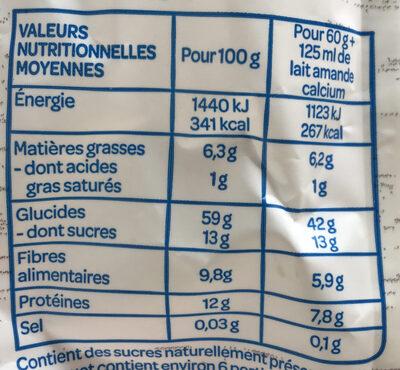 Muesli sans sucre ajouté* Bio - Información nutricional