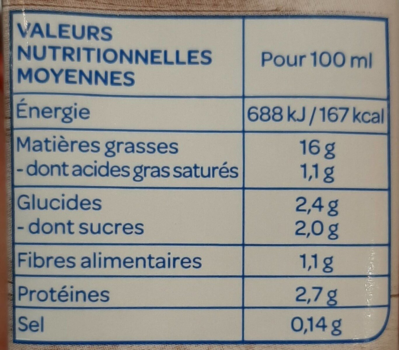 Soja Cuisine fluide - Nutrition facts - fr