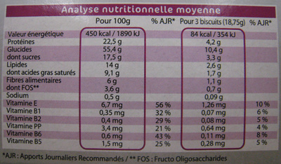 Galettes chocolat Gayelord Hauser - Informations nutritionnelles - fr