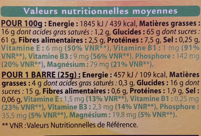 Barre amandes - Informations nutritionnelles - fr