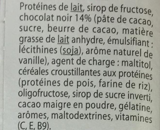 Barre de régime hyper-protéinée Chocolat Noir - Ingrédients - fr