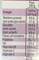 Barre de régime hyper-protéinée Chocolat Noir - Informations nutritionnelles - fr