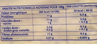 Galettes maïs extra fines - Informations nutritionnelles - fr