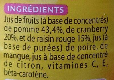 Cranberry sans sucres ajoutés - Ingrediënten