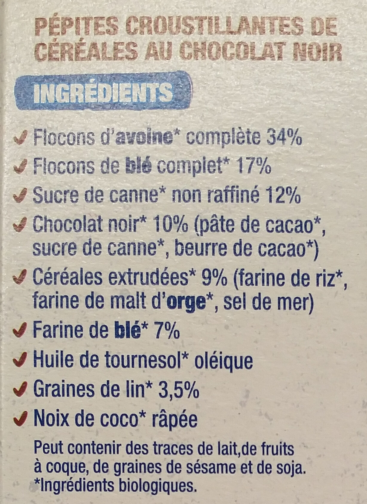 Croustillant chocolat - Ingredients - fr