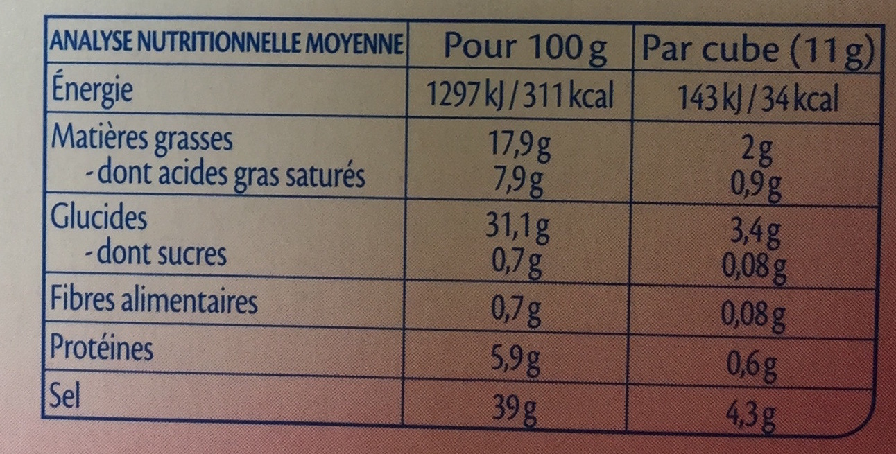 Bouillon cube volaille Bio - Nutrition facts - fr