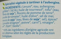 Terrine aubergine bio - Ingredients