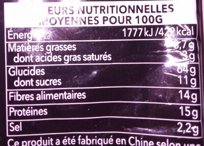 Pois wasabi - Valori nutrizionali - fr