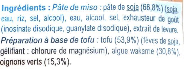 Soupe Miso au Tofu - Ingrediënten