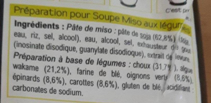 Soupe miso aux légumes - Ingrediënten