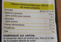Soupe miso aux légumes - Voedigswaarden
