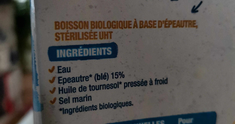 Boisson épeautre sans sucres ajoutés - Ingrédients - fr