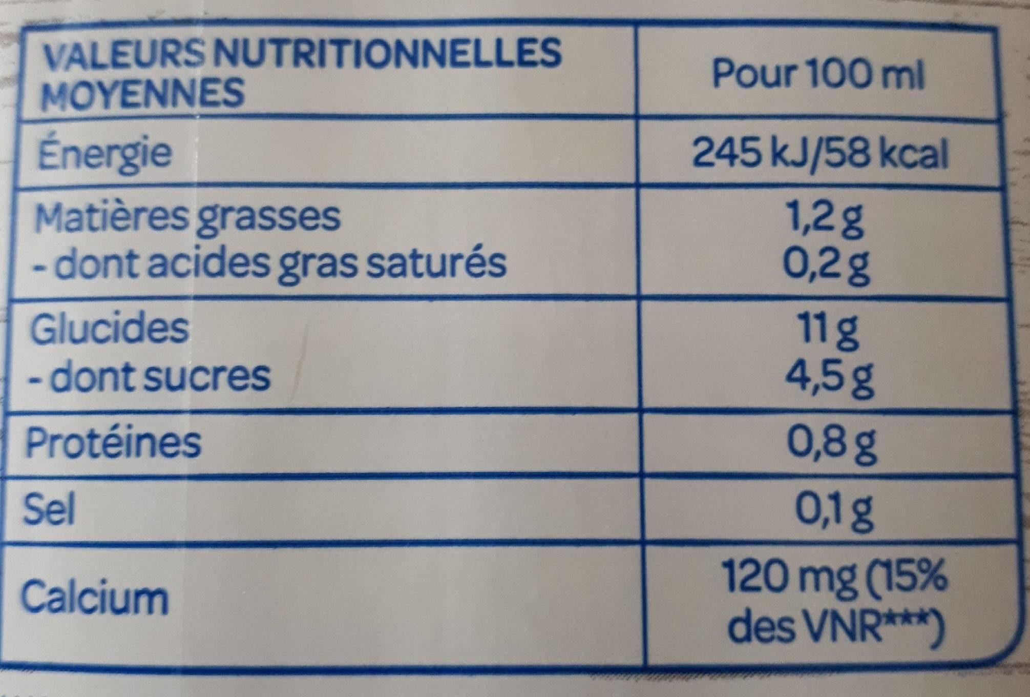 Boisson d'épeautre - Informations nutritionnelles