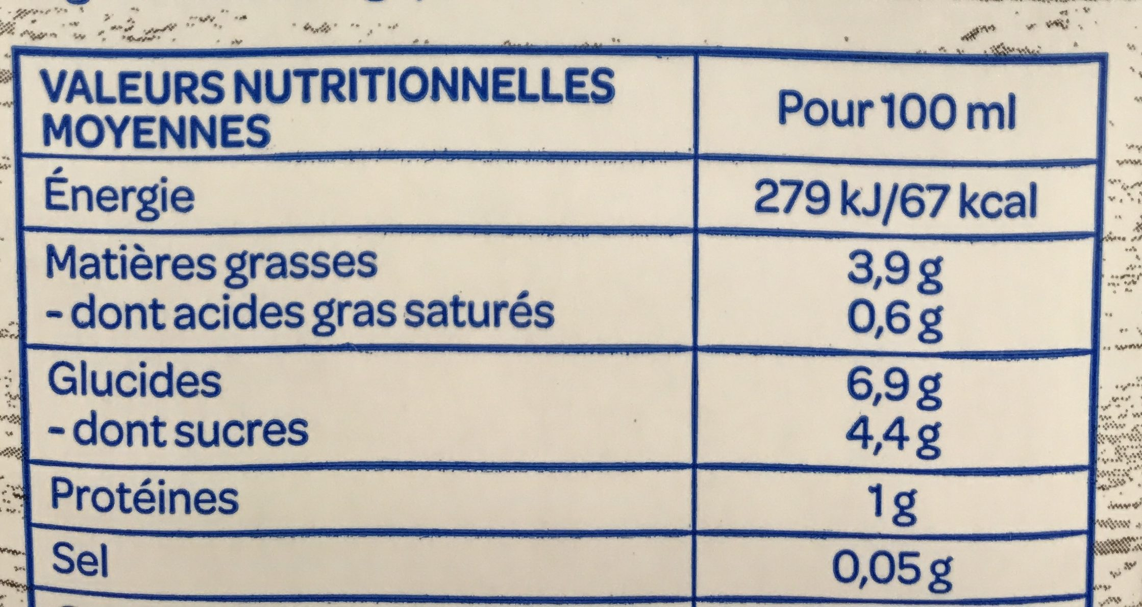 Noisette - Nutrition facts